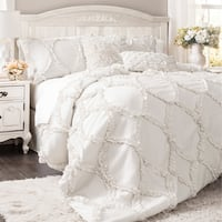 The Gray Barn Dairy Air Ruffled White 3-piece Comforter Set