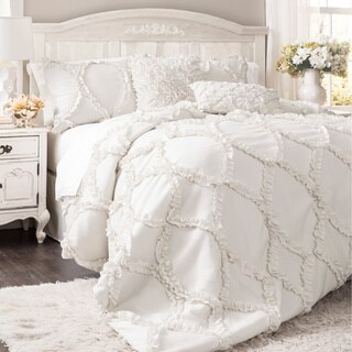 Maison Rouge Christine Ruffled White 3-piece Comforter Set