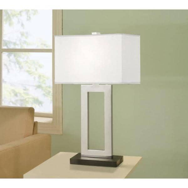 Strick & Bolton Spero 29-inch Contemporary Chrome & Black Contrast Table Lamp with Rectangular Hardback Shade