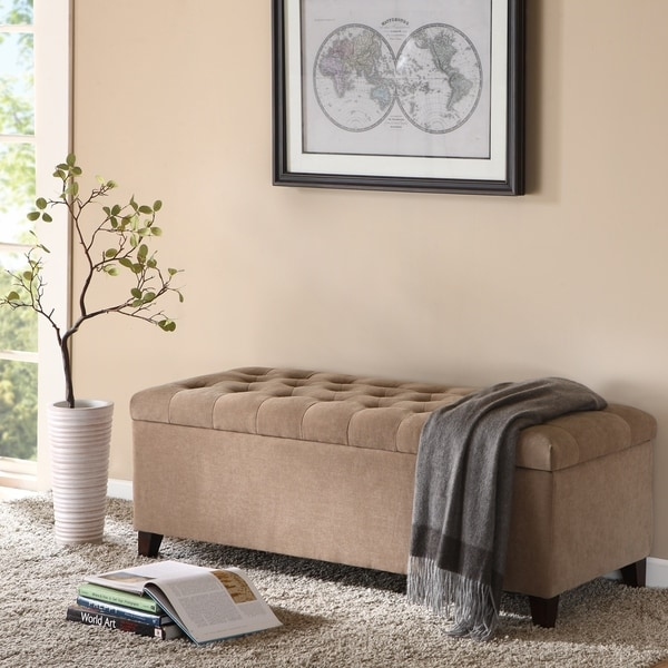 Porch & Den Cowen Tufted Top Storage Bench