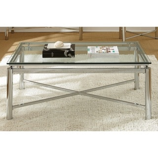 Strick & Bolton Jules Chrome and Glass Coffee Table