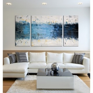 3 piece canvas wall art sets teal blue wall oliver james handpainted canvas art set 3 pieces gallery shop our best home goods deals online at overstockcom