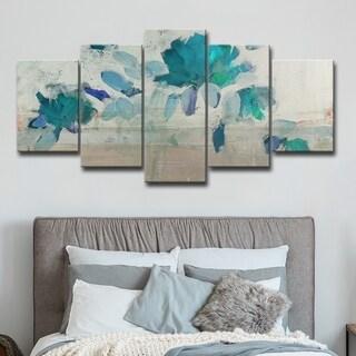 Maison Rouge Painted Petals IV-B' Canvas Set - Grey/Blue/Green