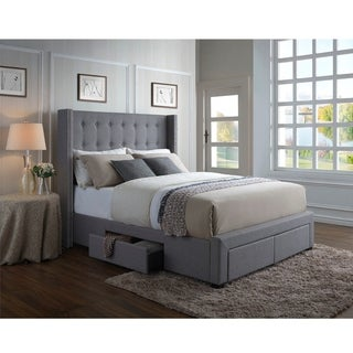 Strick & Bolton Roth Grey Linen Wingback Storage Bed (Grey - Queen)
