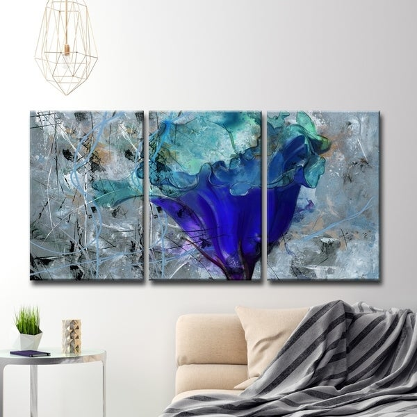 Oliver & James Blue Flower Canvas Wall Art