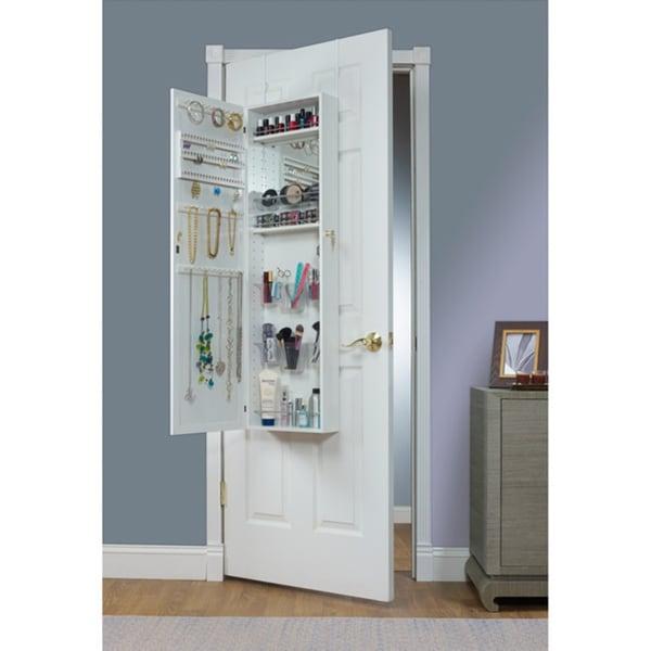 Porch & Den Klemm Over the Door Combination Jewelry and Makeup Armoire