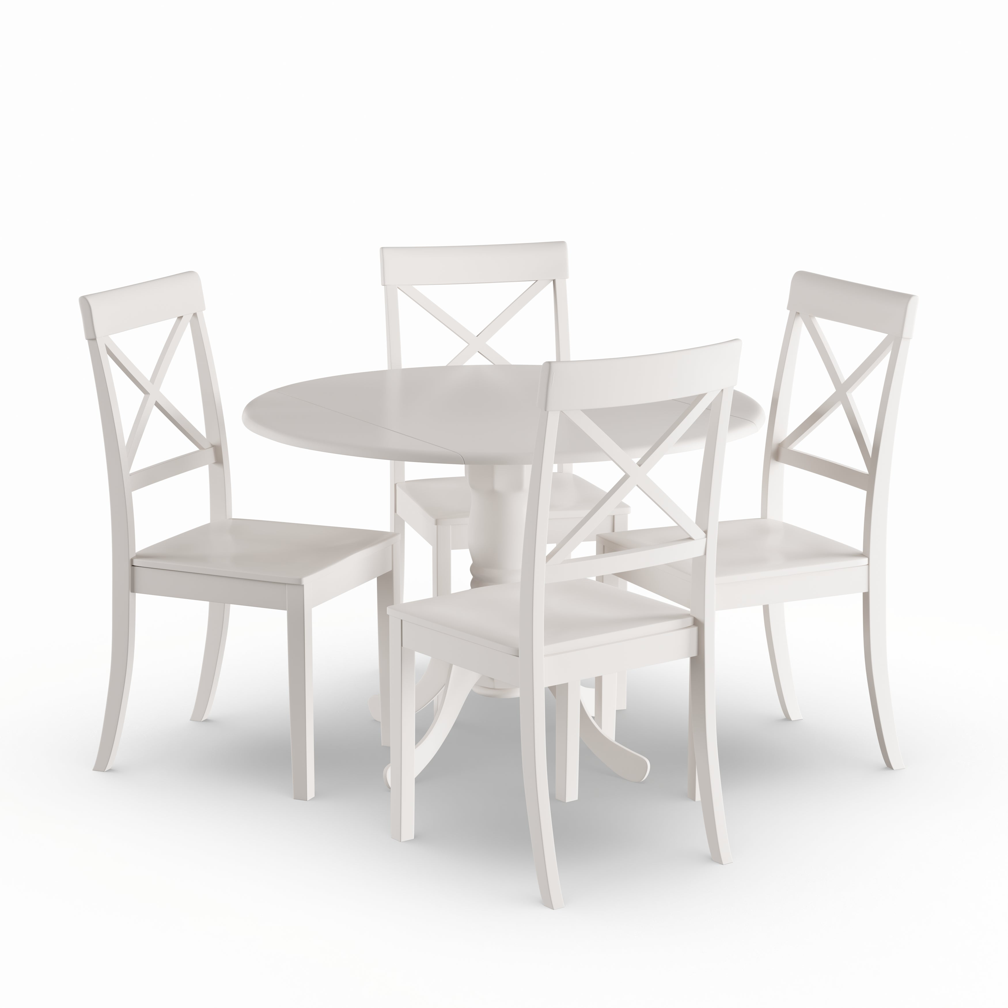 The Gray Barn Windy Poplars Linen White Small Table And 4 Dinette Chairs 5 Piece Dining Set