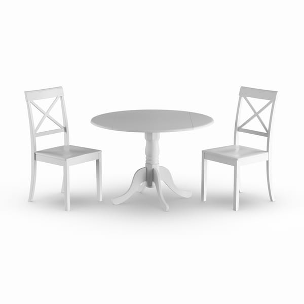 The Gray Barn Ferndale Linen White Table and 2 Chairs 3-piece Dining Set