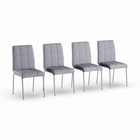 Strick & Bolton Kruger Chrome Dining Chair (Set of 4)