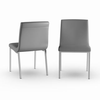 Oliver & James Anselm Grey Stainless Steel Dining Chairs (Set of 2)