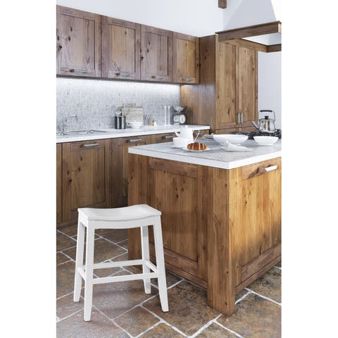 The Gray Barn Mule Patch White Finish Saddle Counter Stool