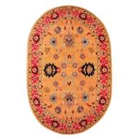 Gracewood Hollow Odyssey Handmade Overdyed Traditional Orange Wool Rug - 6' x 9' Oval