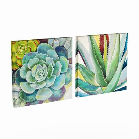 The Curated Nomad Succulent Wrapped Canvas Art Set (2 Pieces)