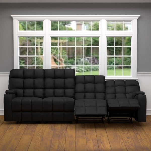 Oliver James Saskia Black Microfiber Storage Reclining Sofa