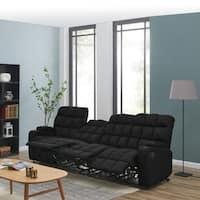Strick & Bolton Saskia Black Microfiber Storage Reclining Sofa