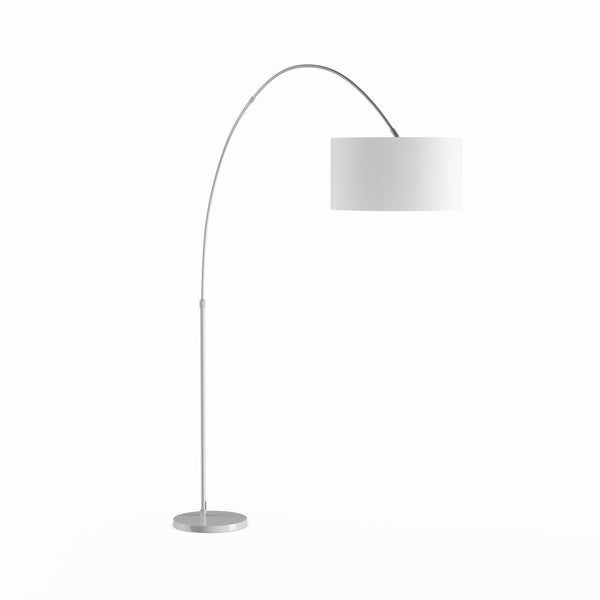 Strick & Bolton Isa Contemporary Nickel Arched Floor Lamp