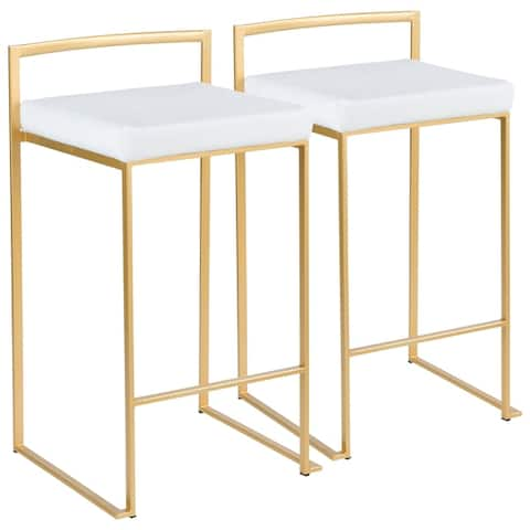 Silver Orchid Forrest Gold Stackable Counter Stool (Set of 2) - N/A