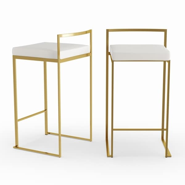 292cd70d677 Shop Silver Orchid Forrest Gold Stackable Counter Stool (Set of 2 ...