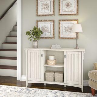 "The Gray Barn Lowbridge Antique White Storage Cabinet with Doors - 46.22""L x 12.76""W x 29.96""H"