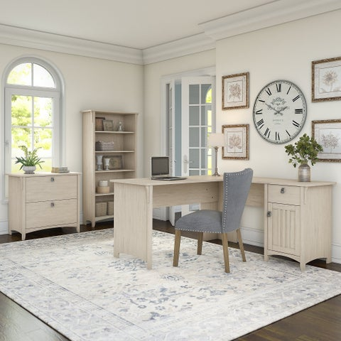 The Gray Barn Lowbridge Antique White L-shaped Desk with Lateral File Cabinet and 5-shelf Bookcase