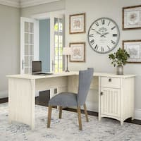 The Gray Barn Lowbridge Antique White L-shaped Storage Desk