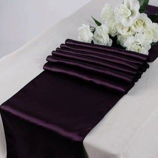 Pack Of 10 Plum Wedding 12 X 108 Satin Table Runner For Wedding Banquet