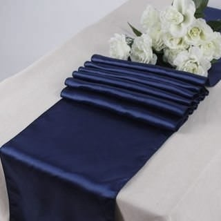 Pack Of 10 Navy Blue Wedding 12 x 108 Satin Table Runner For Wedding Banquet