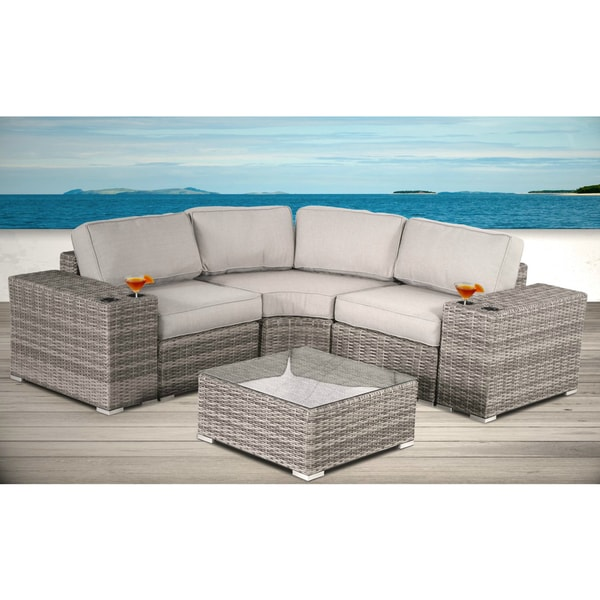 All Weather Resort Grade Outdoor Furniture Patio Sofa Set With Back Cushions - 6 Piece Rattan Sectional Set with Cushions