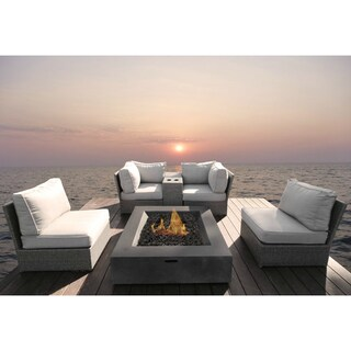All Weather Resort Grade Outdoor Furniture Patio Sofa Set With Back Cushions -6 Piece Sectional Group with Cushions