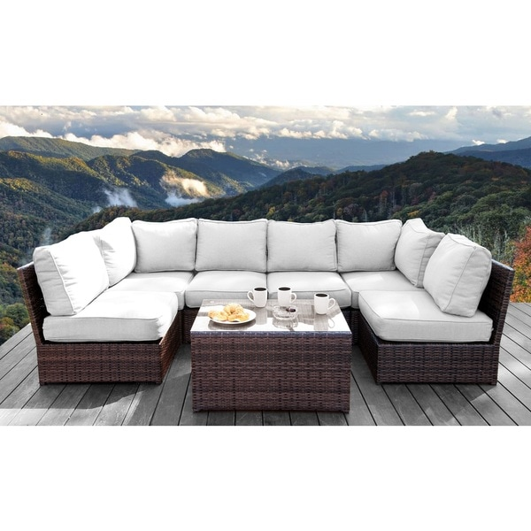 All Weather Resort Grade Outdoor Furniture Patio Sofa Set With Back Cushions - 7 Piece Conversation Lounge