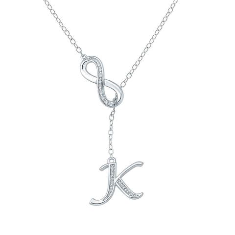 "Cali Trove Diamond Accent ""K"" Alphabet Fashion Necklace Pendant In Sterling Silver - White H-I"