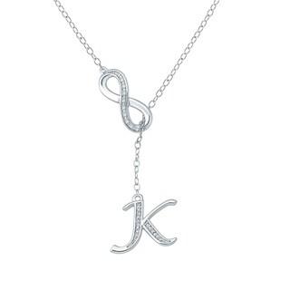 Cali Trove Diamond Accent K Alphabet Fashion Necklace Pendant In Sterling Silver White H I
