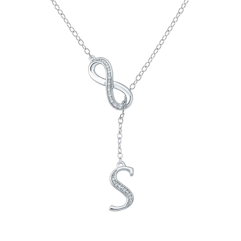 CS-DB Infinity Love Cubic Zirconia Pendants Silver Necklaces