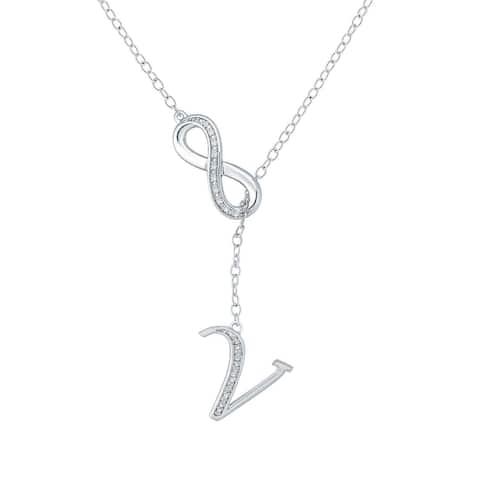 """Cali Trove Diamond Accent """"V"""" Alphabet Fashion Necklace Pendant In Sterling Silver - White H-I"""