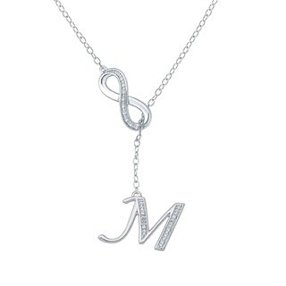 Cali Trove Diamond Accent M Alphabet Fashion Necklace Pendant In Sterling Silver White H I