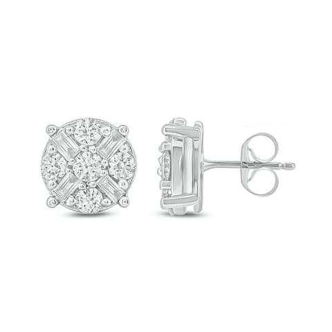 Cali Trove 1/2ct TDW Diamond Cluster Fashion Earring In 10kt White Gold