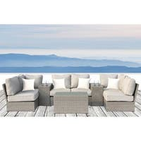 Living Source International Cup Table 9 Piece Conversation Set with Cushions