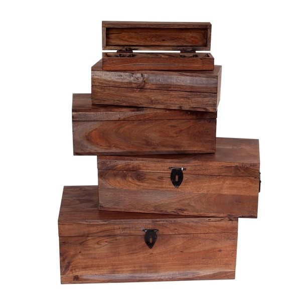 Dalewood 5 piece Antique Looking Nesting Wooden Treasure Box (ALX)
