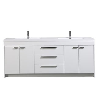 Fresca torino 84 inch white modern bathroom double vanity with side cabinets and undermount for 84 inch white bathroom vanity
