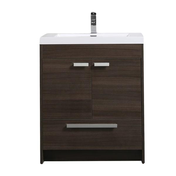 Shop Eviva Lugano 30 Grey Oak Bathroom Vanity Free Shipping Today 20154452