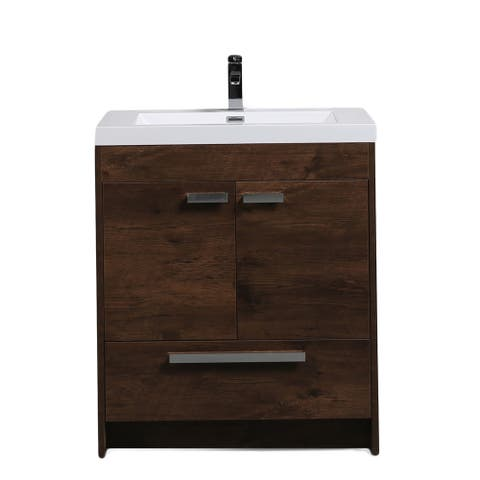 Eviva Lugano 30 inch Rosewood Modern Bathroom Vanity with White Integrated Acrylic Top