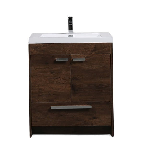Eviva Lugano 30 inch Rosewood Modern Bathroom Vanity with White Integrated Acrylic Top. Opens flyout.