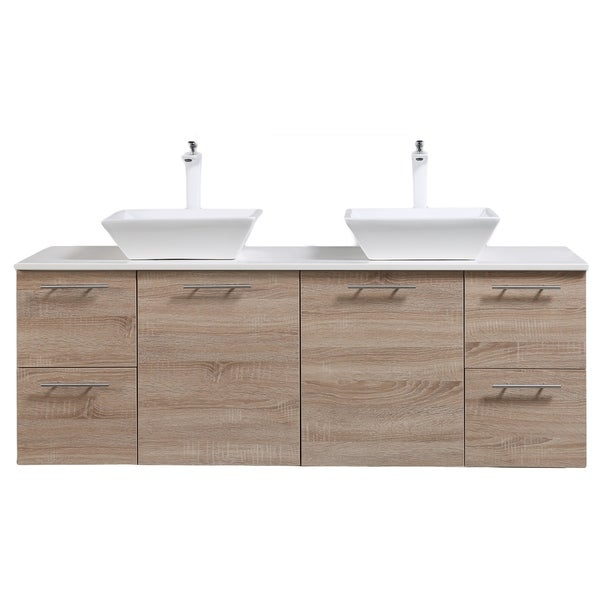 Shop Eviva Luxury Inch White Oak Bathroom Vanity Free Shipping - 72 floating bathroom vanity