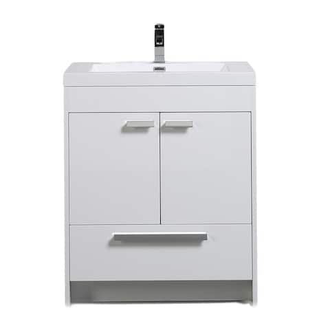Eviva Lugano 30 inch White Modern Bathroom Vanity with White Integrated Acrylic Top