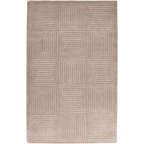 Hand-crafted Solid Beige Geometric Manhattan Beige Wool Area Rug - 5' x 8'