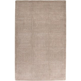 Hand-crafted Solid Beige Geometric Manhattan Beige Wool Rug (5' x 8')