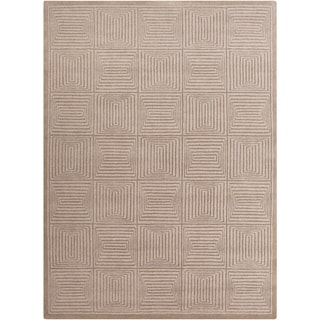 Hand-crafted Solid Beige Geometric Manhattan Beige Wool Rug (8' x 11')