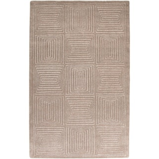 "Hand-crafted Solid Beige Geometric Manhattan Wool Area Rug - 3'3"" x 5'3"""