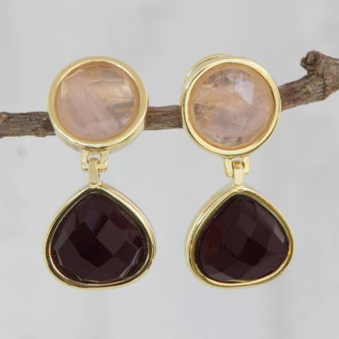 Handmade Gold Overlay 'Equilibrium' Amethyst Rose Quartz Earrings (Brazil)