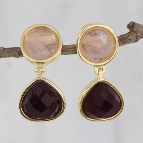 Handmade Gold Overlay 'Equilibrium' Amethyst Rose Quartz Earrings (Brazil)